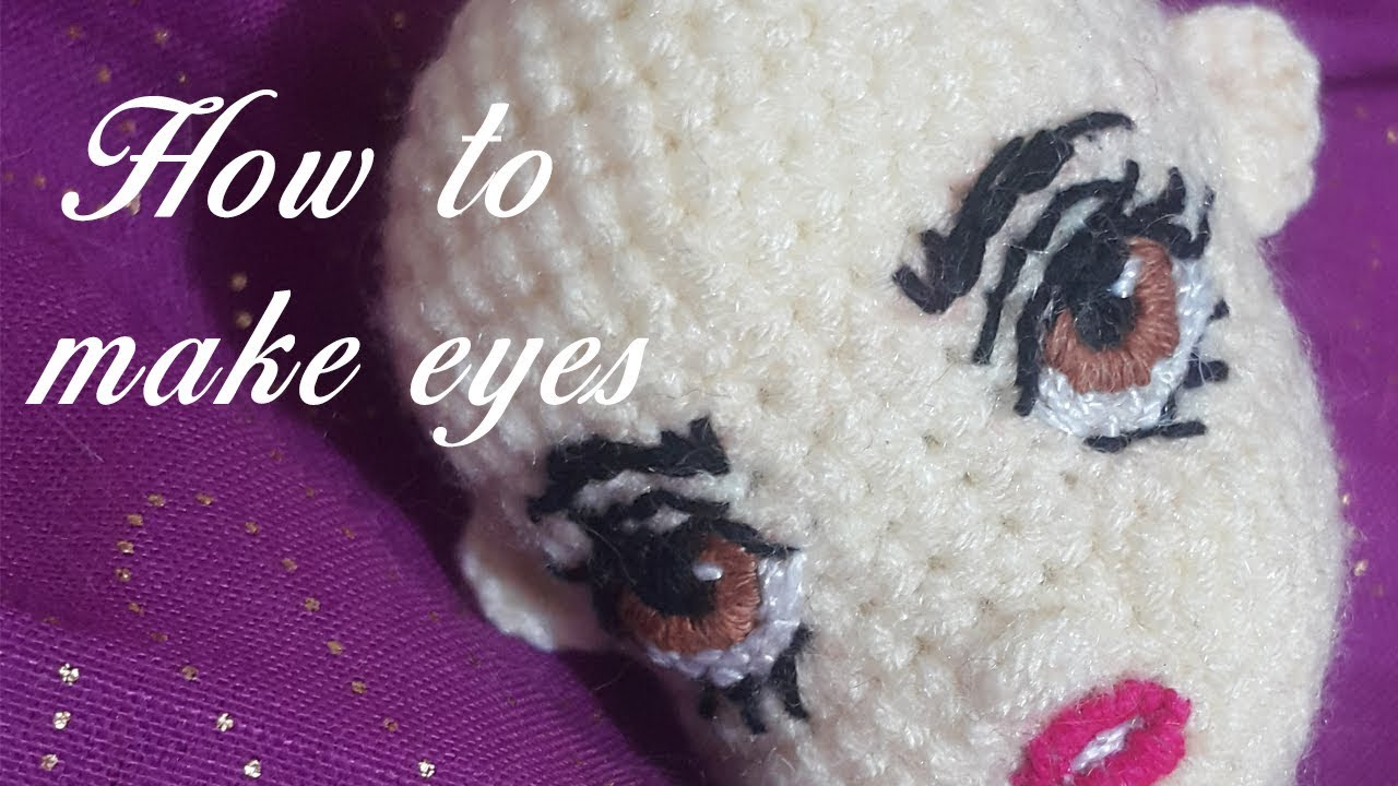 How to Hand Embroider eyes for Amigurumi Crochet Doll Mermaid ... | 720x1280