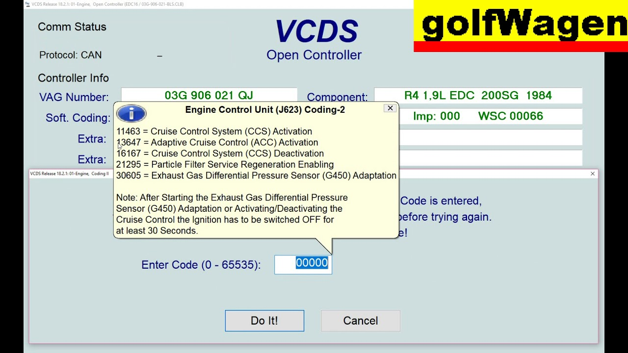 VW Golf 5 cruise control activation or daectivation ECU coding