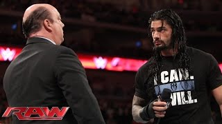 Roman Reigns interrupts Paul Heyman: Raw, March 16, 2015