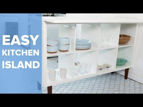 Upcycled Bookshelf Kitchen Island
