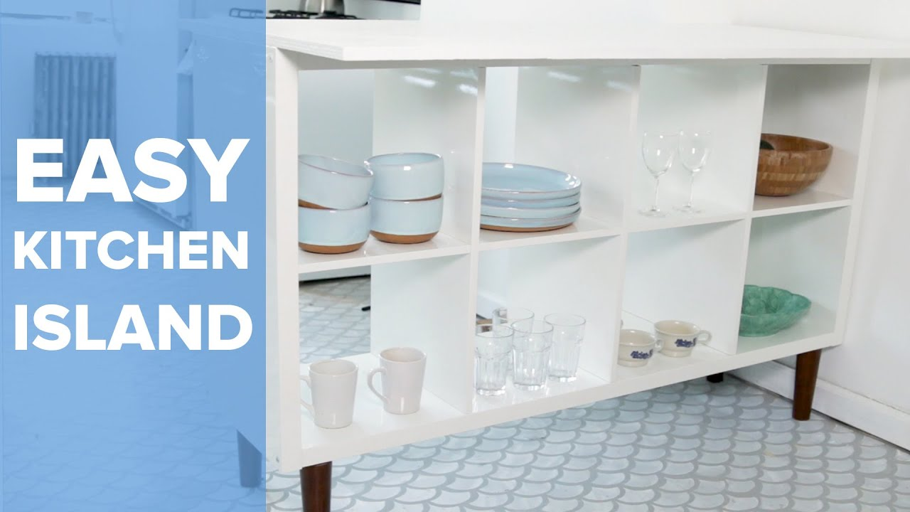 Upcycled Bookshelf Kitchen Island - YouTube
