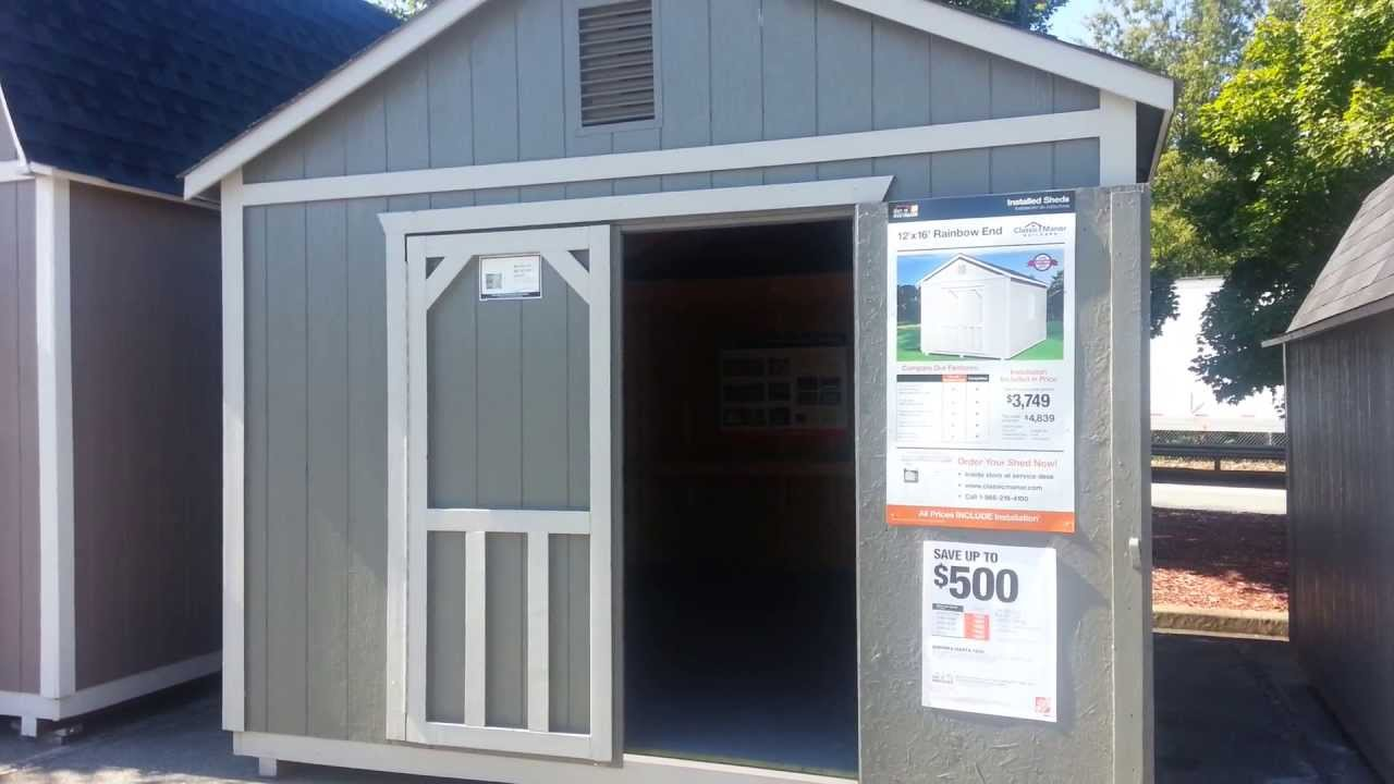 Home Depot Outdoor Storage Barn Rainbow End 12u0027 X 16u0027   YouTube