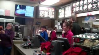 Flashmob at Ithaca (NY)  McDonald's: 12/5/134 #FastFoodStrike