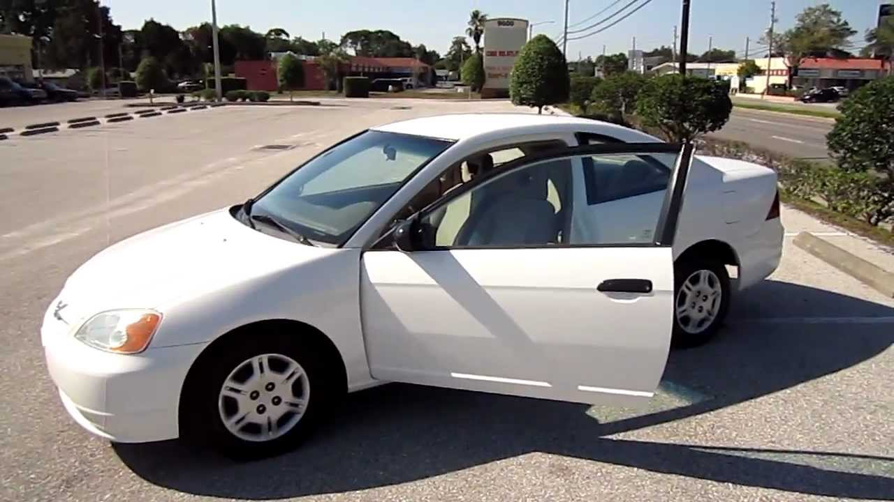 sold 2001 honda civic lx coupe white nice meticulous motors florida for sale look youtube. Black Bedroom Furniture Sets. Home Design Ideas