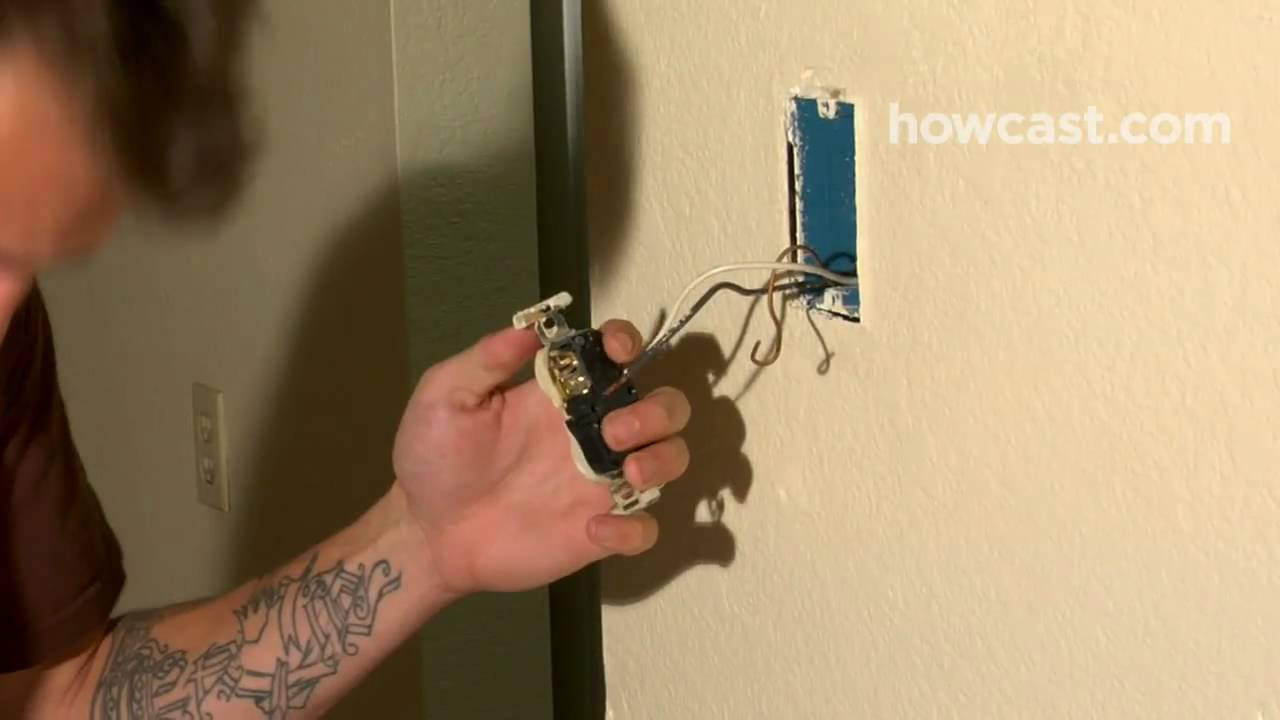 How To Replace An Electrical Outlet Youtube Pull Cord Switch Fixing Wall Mounted Light And The
