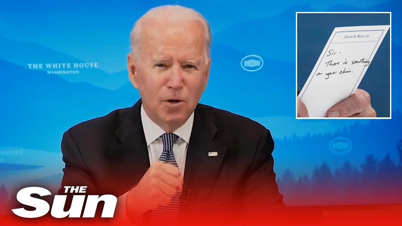 Biden accidentally reveals note from staff saying 'sir, there is something on your chin'