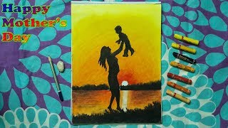 How to Painting Mother and Baby, Sunset Drawing for Beginners With Oil Pastels - Step by Step