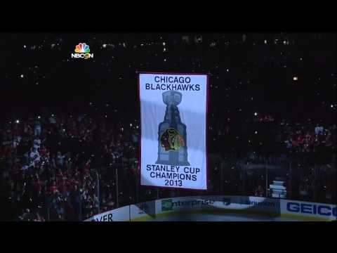 Chicago Blackhawks Raise The 2013 Stanley Cup Banner
