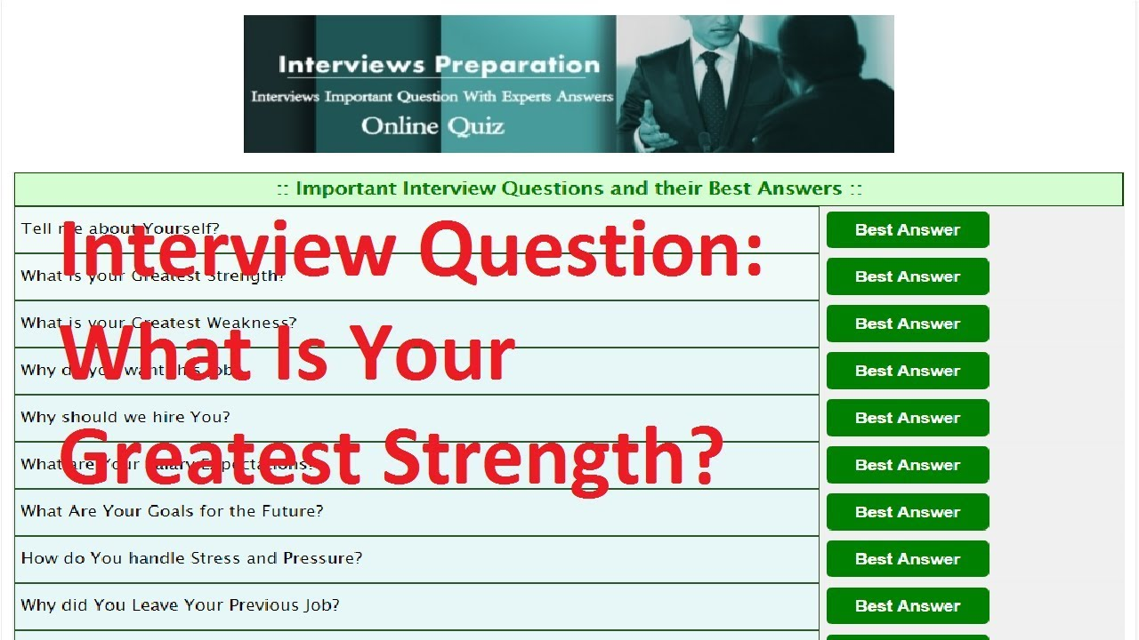 What Is Your Strength Weakness Best Job Interview Answer Youtube