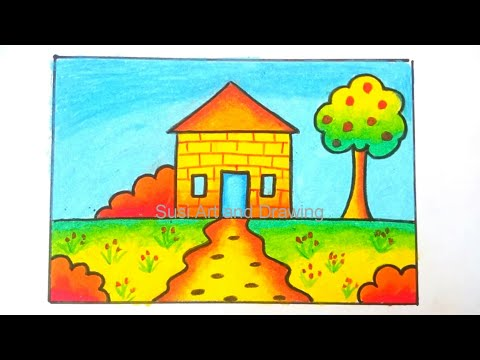 Menggambar Rumah Mudah Untuk Anak Tk Dan Paud Youtube