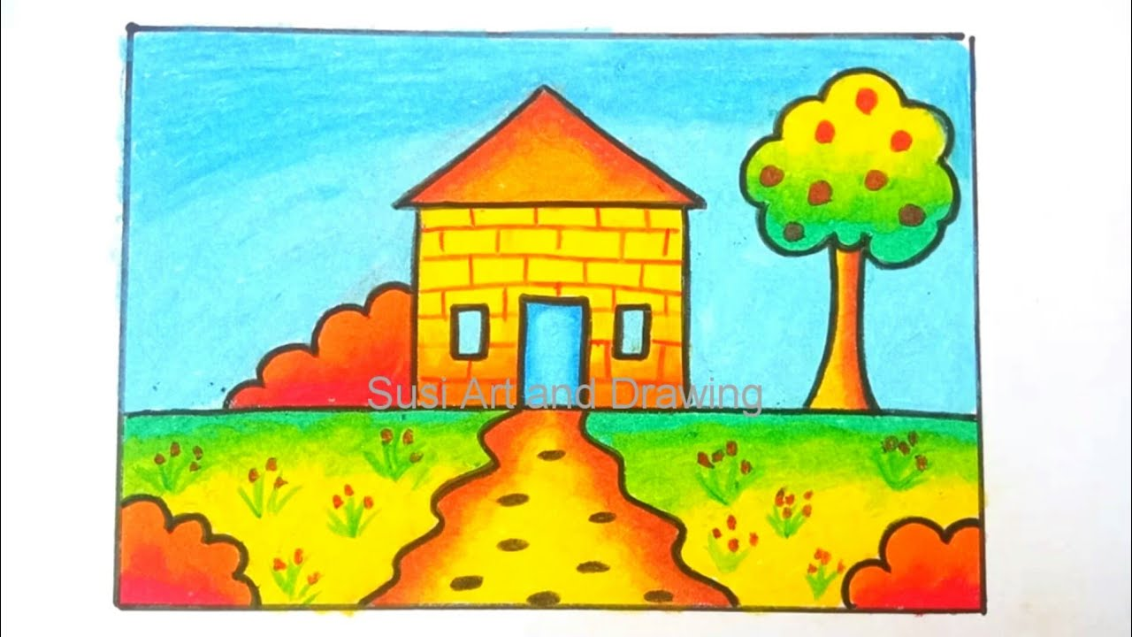 Menggambar Rumah Mudah Untuk Anak TK Dan Paud