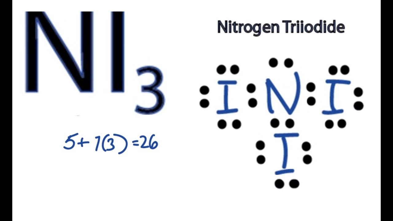 Ni3 Lewis Structure - How To Draw The Dot Structure For Ni3  Nitrogen Triiodide
