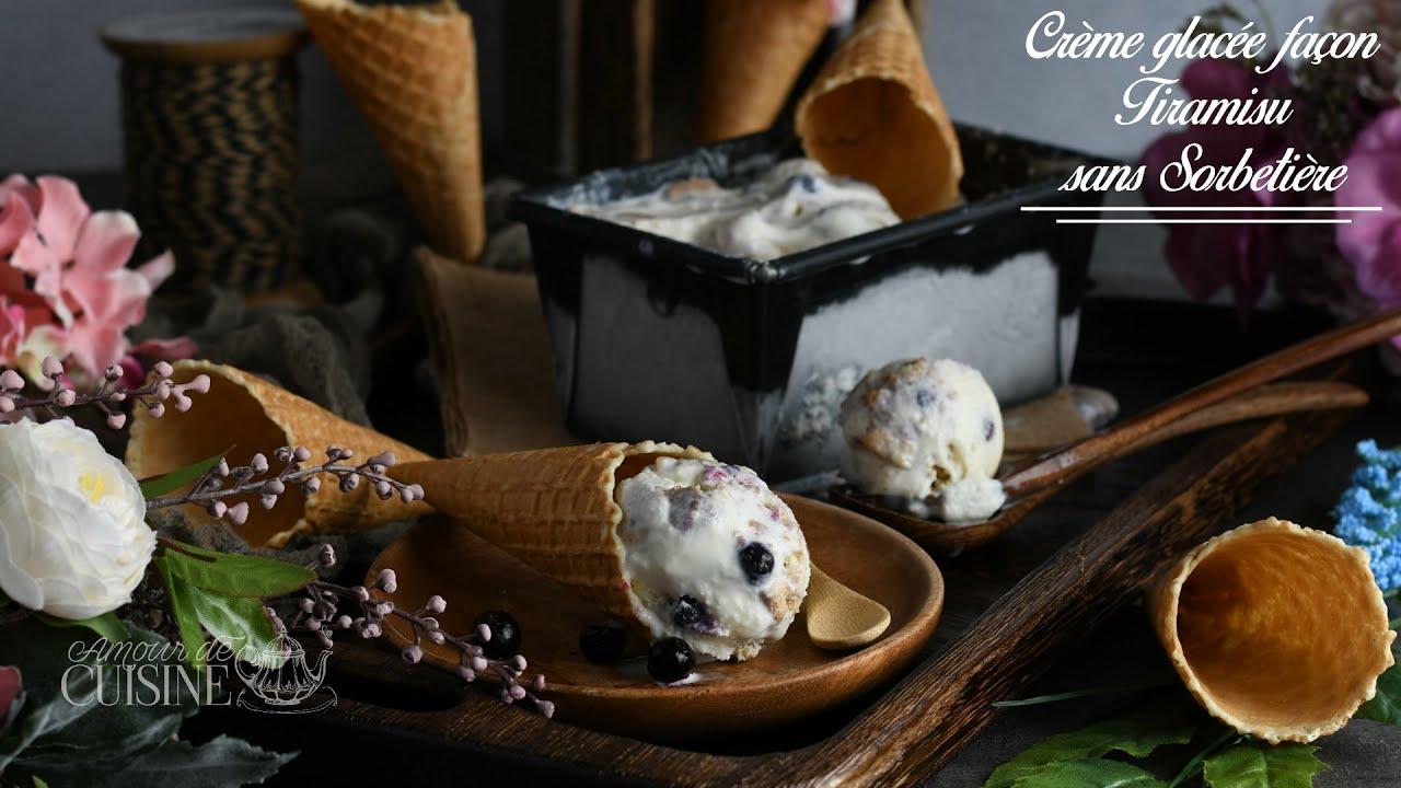creme glacée façon tiramisu au mascarpone, crème glacée sans sorbetière