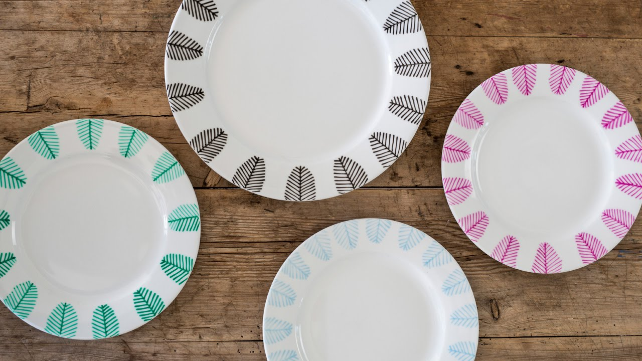 DIY Decorate dinner plates with porcelain markers by Søstrene Grene & DIY: Decorate dinner plates with porcelain markers by Søstrene Grene ...