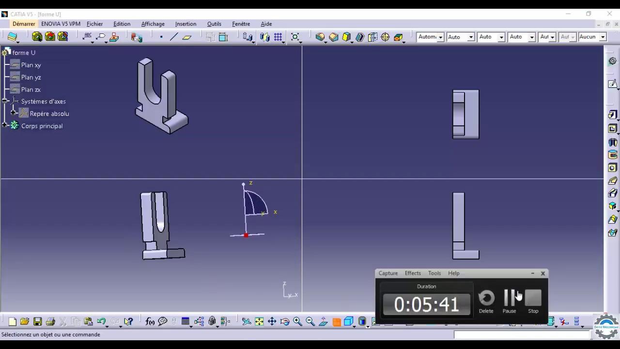 catia v5 part design tutorial form l youtube. Black Bedroom Furniture Sets. Home Design Ideas