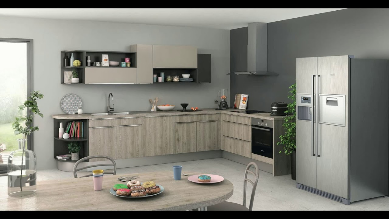 meuble cuisine gris clair youtube. Black Bedroom Furniture Sets. Home Design Ideas