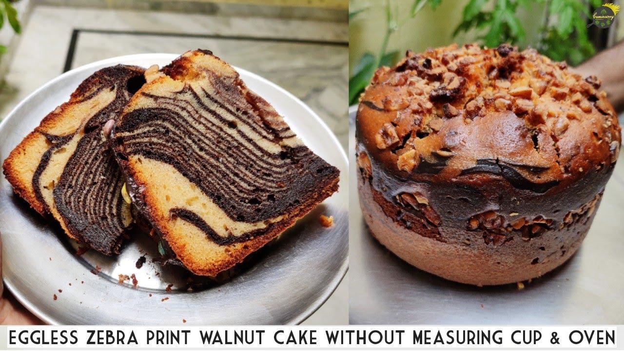 बिना अंडा बिना ओवन बनाये ये लाजवाब केक   Eggless Zebra Walnut Cake Recipe Without Oven   Cake Recipe