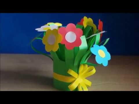 видео: Красивые букеты цветов на 8 Марта из бумаги своими руками