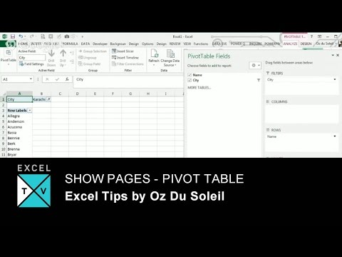 Show Report Filter Pages - Show Pages - Pivot Tables in Excel