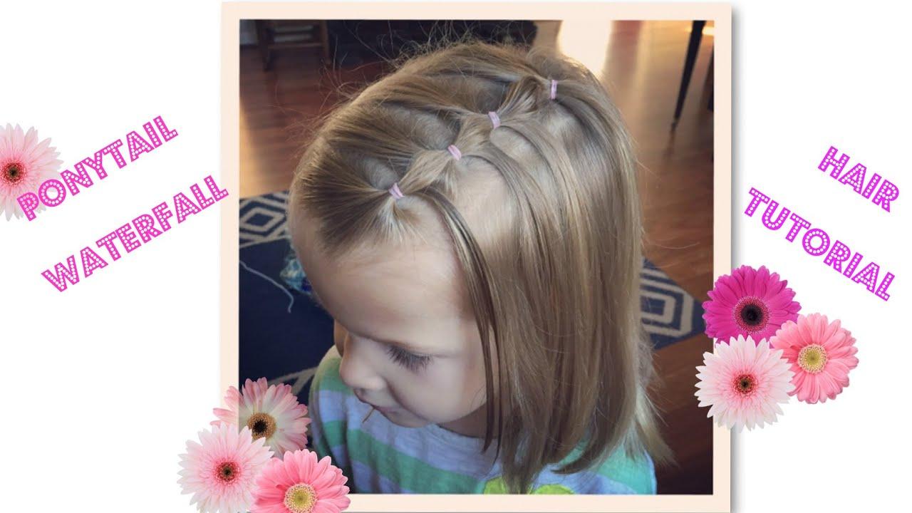 Hair tutorial for Little Girls Ponytail waterfall