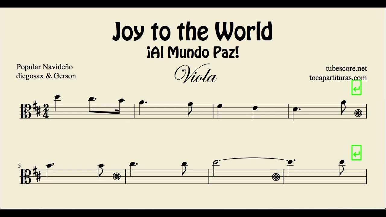 Joy to the World Sheet Music for Viola Al Mundo Paz Christmas Carol - YouTube