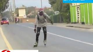 Enock Mwakisaji enjoys skating, moves like a king