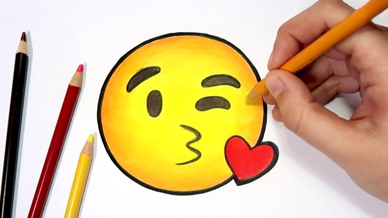 como desenhar o emoji beijo do whatsapp passo a passo youtube