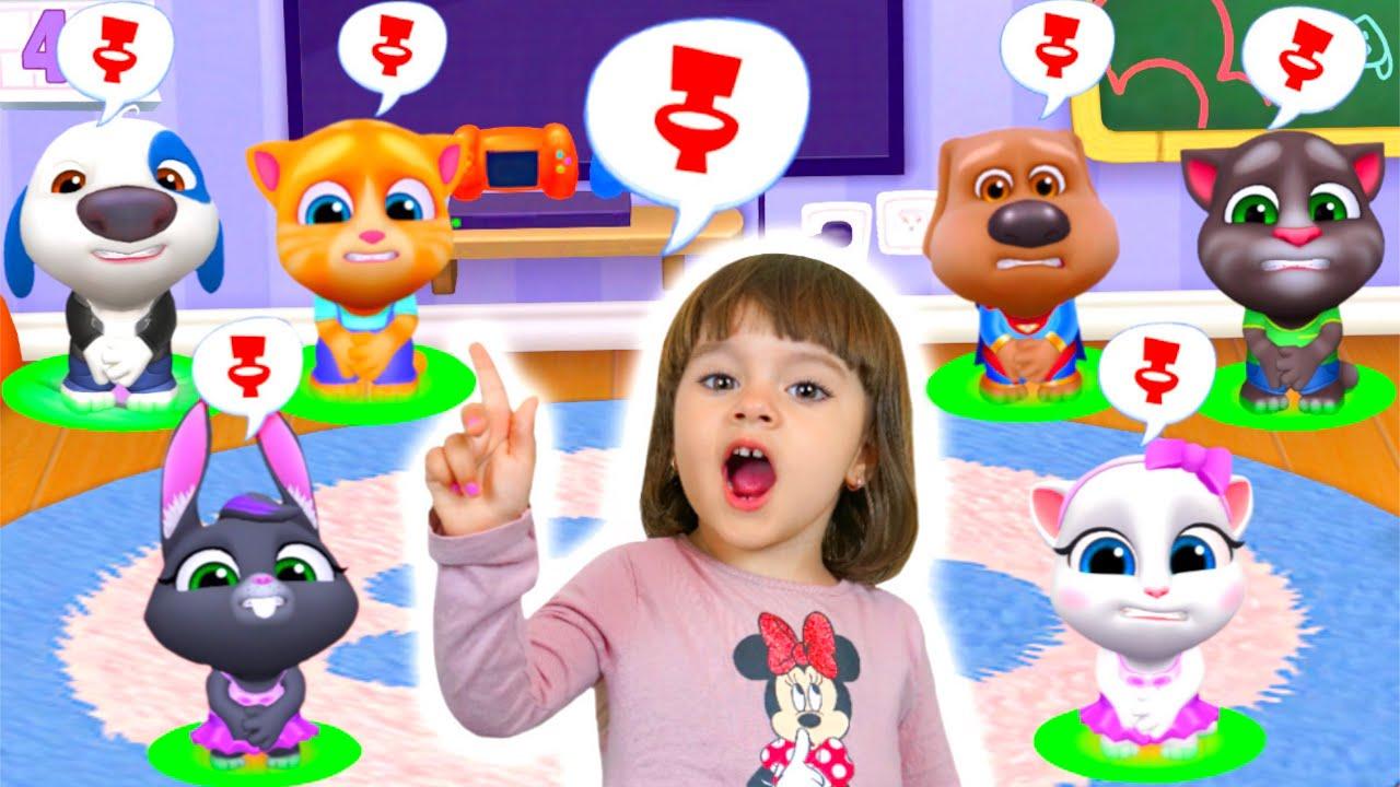 Арина попала в игру Мой Говорящий Том и друзья | Виртуальные питомцы весело проводят время
