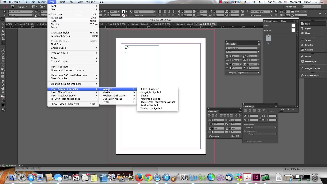 Adding Special Characters In Indesign Youtube