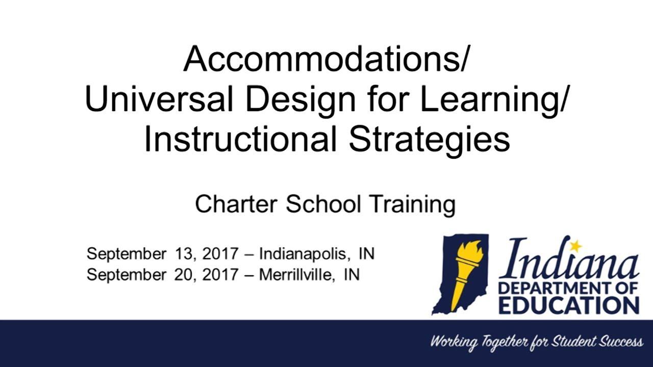 Idoe Charter School Training Accommodations Udl Instructional