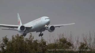 Beautiful Landing Air Canada  Boeing 777-333ER Crosswind landing (Narita) Japan / EOS7D EF100-400L
