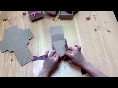 วิธีพับกล่อง กระดาษลูกฟูกน้ำตาล 8x8