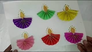 Paper Fold Diyas For Kids Diwali Craft | How To | CraftLas