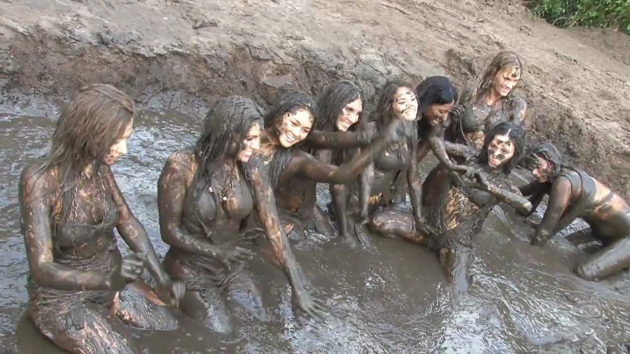 Mud wrestling teens