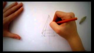 как нарисовать 6ти гранную пирамиду