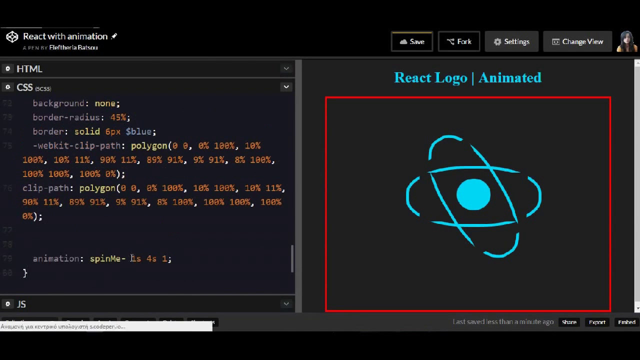 How To Pre Css That React Logo With Animation For Bigenners