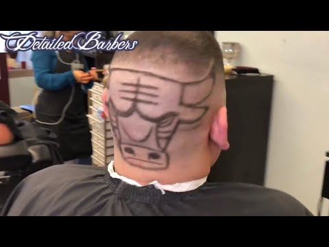 How to do Chicago Bulls with Hair Design Stencil Barber Tutorial