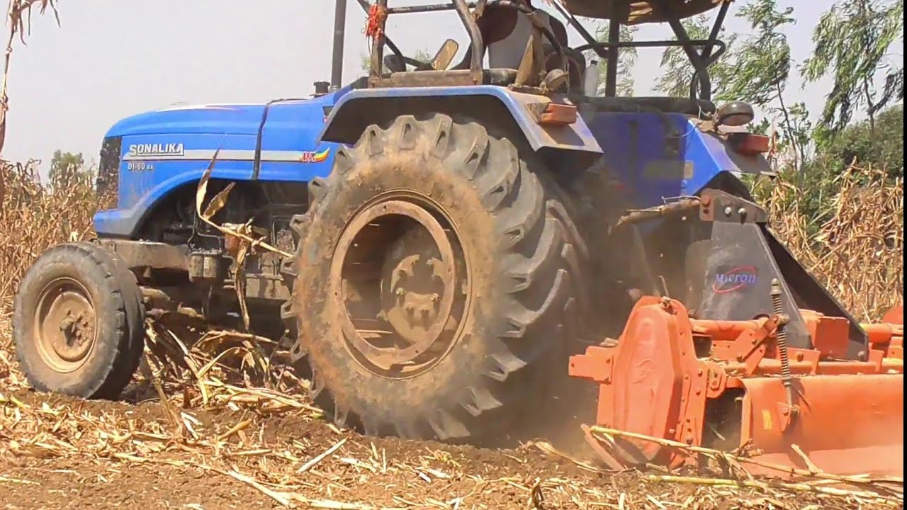 Sonalika Di 60 Rx with 7 feet Rotavator Powerfull Performance and Smooth in  Field