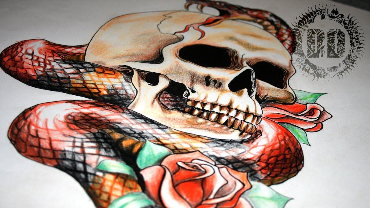 Snake Skull Tattoo: Skull And Snake Tattoo Design