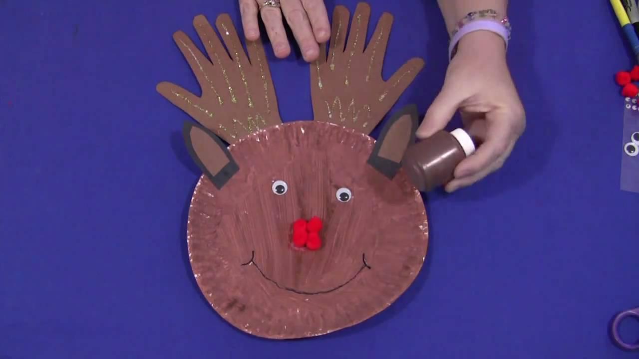 Paper Plate Handprint Reindeer  sc 1 st  YouTube & Paper Plate Handprint Reindeer - YouTube