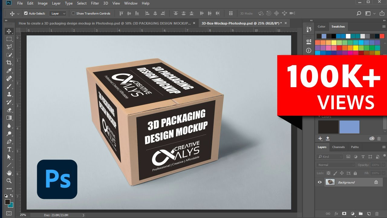 create a 3d packaging design mockup in photoshop youtube