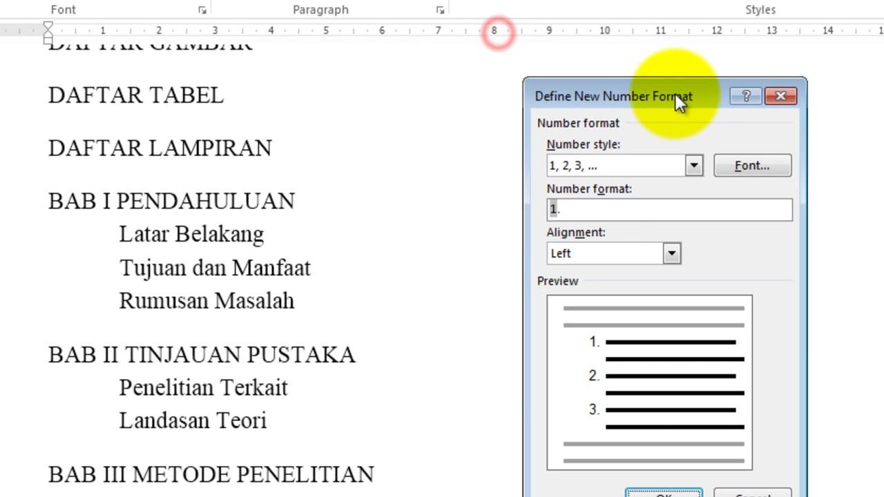 Cara Membuat Daftar Isi Otomatis Dalam Microsoft Word 2013 Youtube