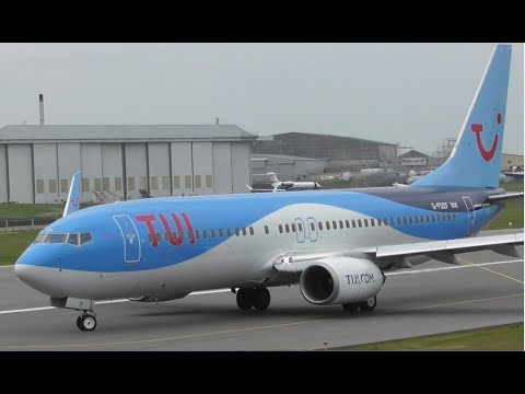 TUI Boeing 737 G-FDZF Take Off at Cambridge Airport