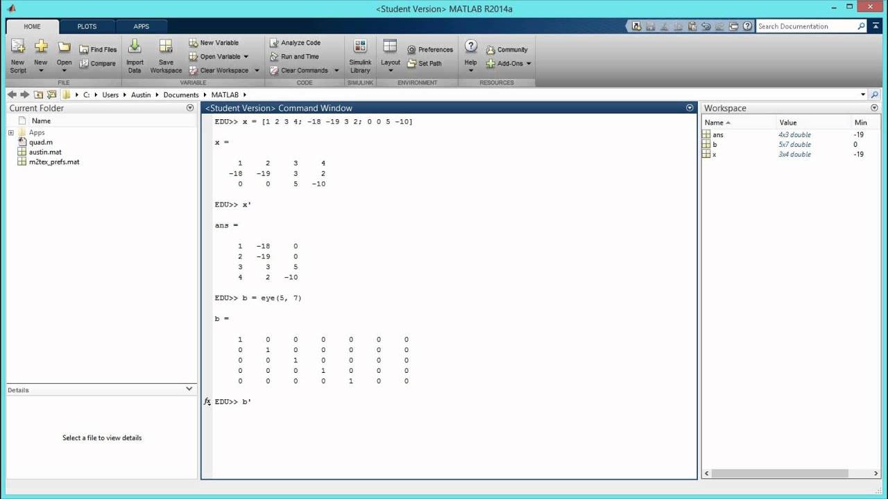 How to Transpose a Matrix in MATLAB  [HD]