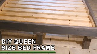 Easy DIY Queen Size Bed Frame Build with Wooden Legs