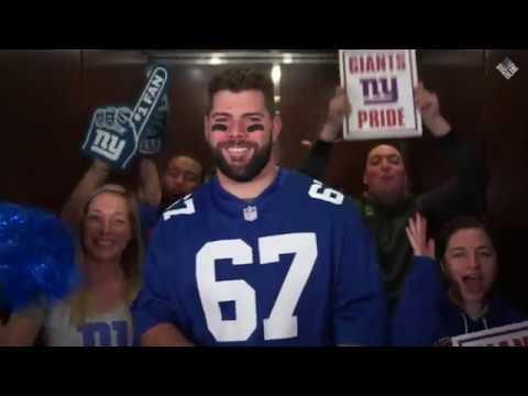 Justin Pugh rides the Giants Schedule Elevator