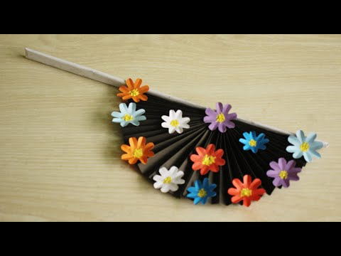 How to make hand fan out of color papers | DIY paper craft | Handicraft 360