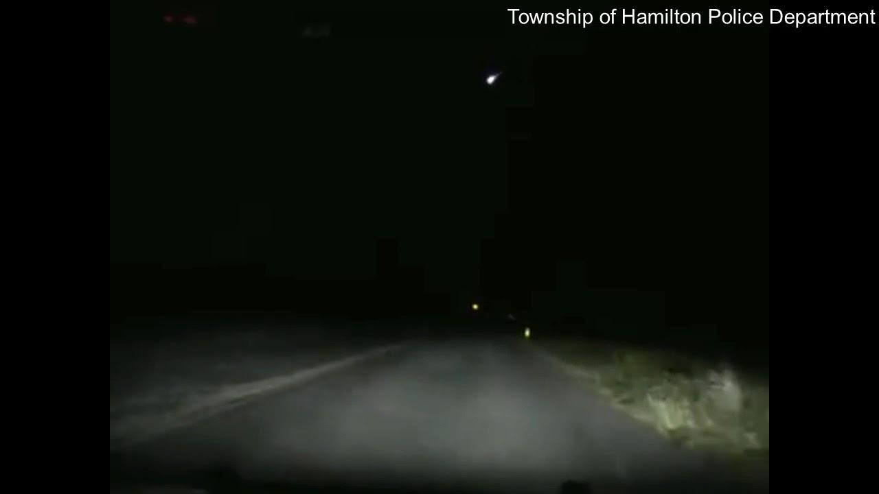 Police dashcam captures fireball shooting across sky in New Jersey