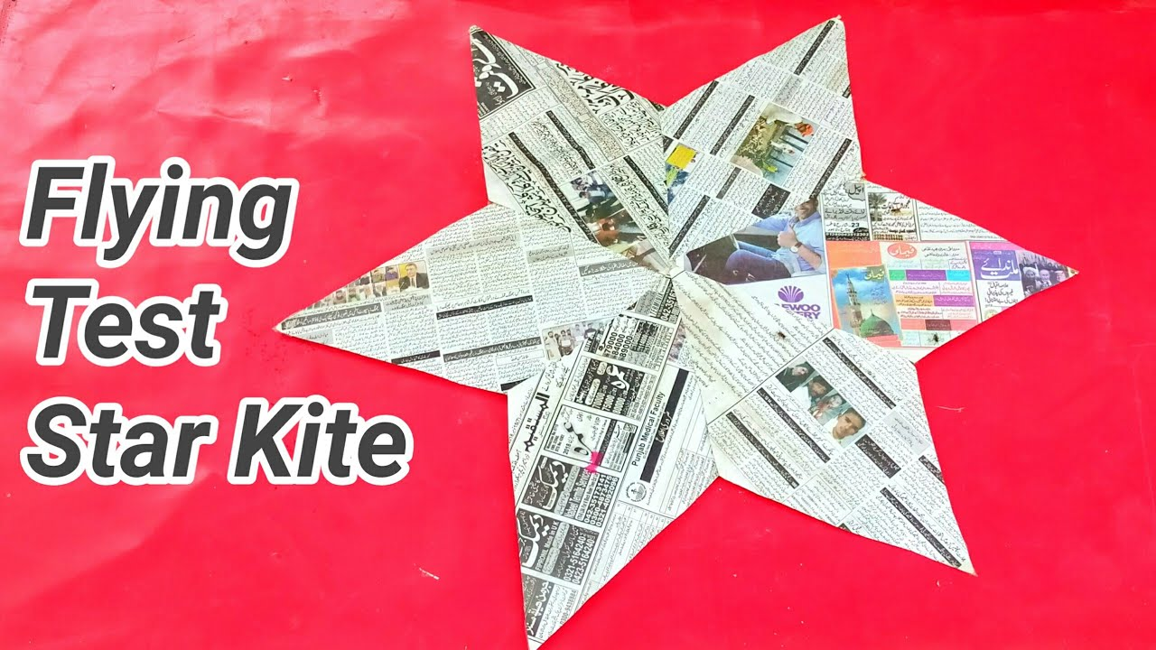 How to Fly Star Newspaper Kite (Part 2) Star kite making || 1st Part Video Link in Description