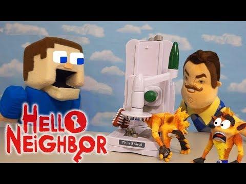 HELLO NEIGHBOR Goes After CRASH BANDICOOT? DINNER TIME Super Unboxing  Puppet Steve